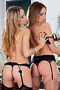 Brunette lesbian couple getting naughty before the party time