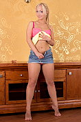 Linet strips naked and dildos her pussy