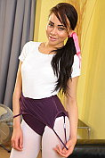 Dusky beauty Alegra Thomas teases in her ballet outfit and white tights