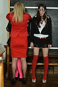 Abigail Toyne makes Jessica Rose and Samantha Bentley strip naked at the front of the class