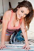 Jess Impiazzi tries her hand at some DIY in tiny denim shorts