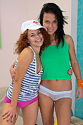Two cute teenage girls have lesbian sexy together