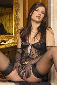 Claudia Rossi looks so sexy in black lingerie