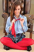 Busty babe Lauren Wood strips out of her fantasy school uniform