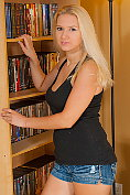 Pretty blonde Kendra strips down to her knickers