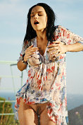 Jenya D gets drenched in her summer dress