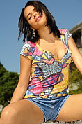 Vivi Spice takes off her little denim shorts and t-shirt revealing her tight teen body