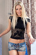 Ultra sexy blonde babe Marsa plays with her clean shaved twat