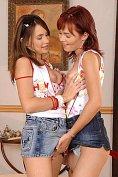 Cute teens strip and dildo