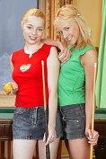 Blonde lesbian teens make out together