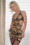 Fabulous blonde Bailey Kline stands out even in camoflage