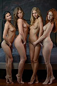 Four gorgeous and horny girls play naked together