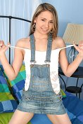 Non-nude gallery of sexy blonde teen in denim skirt dungarees