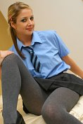 Fabulous blonde teases in her uniform at Only-Opaques