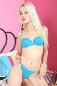 Blonde teen Rebecca Blue teases us on her bed