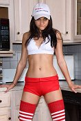 Georgia Jones strips off and gets very rude in the kitchen with some help from her girlfriend