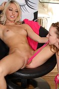 Sarah Peachez plays with her panties, with a little help from her friend, as well