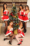 Five sexy girls strips at Christmas