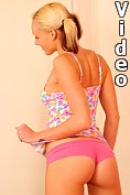 Gorgeous blonde teen strips and masturbates on video