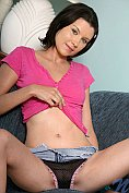 Piper teases in her denim mini slirt and knickers