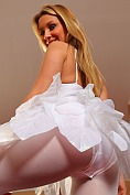 Cheeky blonde Samantha F looks amazing dressed all in white, in her cute fairy outfit