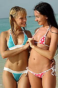 Blue Angel and Sasha Rose get off on the beach