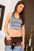 Glorious Brunette Natalia strips from her denim mini skirt with matching denim top