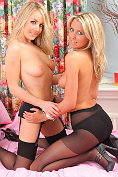 Becky Roberts and Rachel-Louise Frodsham take off their sexy schoolgirl outfits