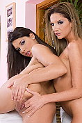 Lesbian babes Bambi and Zafira get turned on each other and eating pussy