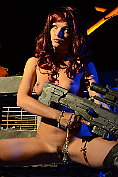 Naked horny redhead with a big gun