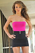 Malena Morgan looks hot in black and pink... but looks even hotter when she shows her own pink!