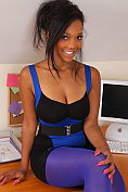 Rehea in secretary dress with purple tights