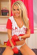Becky Roberts takes off her sexy little baseball outfit