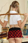 Pigtailed Avril Hall Strips College Girl Outfit for Speculum Exam