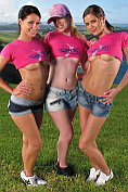 Three sexy babes get naked in the open air