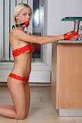 All natural blond teen tied with red sticky stripe and punished