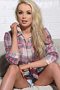 Alexa Grace strips out of her check shirt and denim shorts