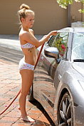 Madison gets naked and wet washing the car