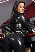Sarah Arnold would get noticed at any bar in that black latex outfit