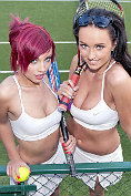 Hannah Martin and Sammi-Jo get their tits out on the tennis court