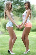 These two Russian chicks are just incredible in their tiny little shorts