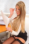 Naughty secretary Lexi Lowe teases and strips in the office
