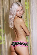 Fabulous blonde Adelia A takes off her knickers for us