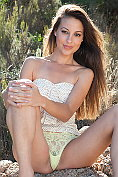 Lorena B strips naked in the open air