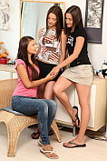 Three brunette teens tease and fuck to a climax