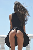 Carin takes off her little black dress and knickers