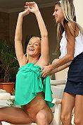 Kiara Lord and Gina Gerson enjoy strap on dildo lesbian sex outdoors