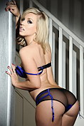 Hannah Martin teasing in her sexy black and blue lingerie
