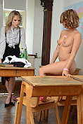 Lizzie Gibson persuades Headmistress Mackenzie to undress with her