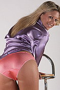 Hot blonde in silky lingerie